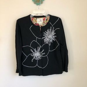 Anthropologie • Tabitha black embroidered cardigan